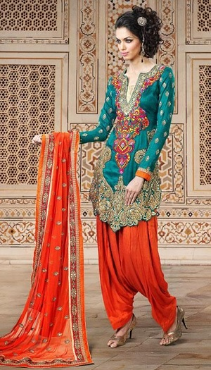 61b6848baa Want to look royal in a salwar suit? Check out this blue and orange fancy  Punjabi salwar suit that can win your hearts. The unique pattern on the  Kurta is ...
