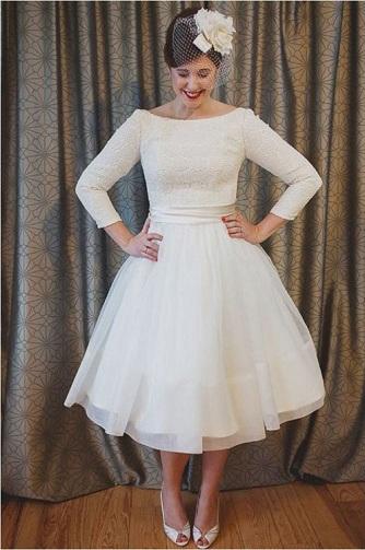 Boat Neck Short Bridal Dress