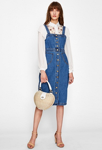 Button Front Strap Jean Overall Dress