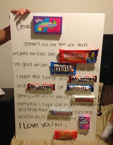 A Homemade Anniversary Gift Is The Candy This Chart Card That Made Of Cans You Need To Write Letter Your Spouse