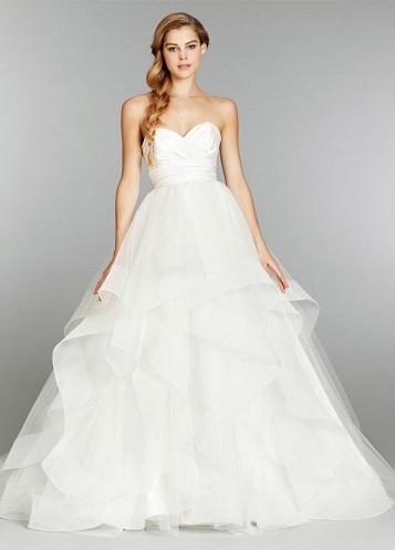 Cascading Ruffle Designed Wedding Dress