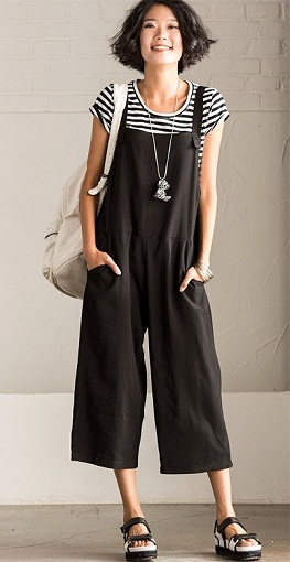 Casual Black Overalls