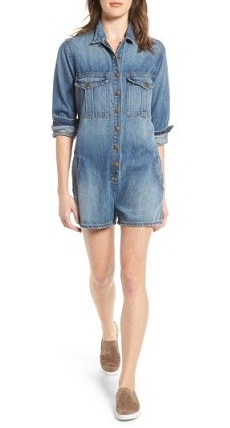 Charming Denim Romper Shorts