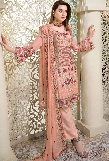 4604793031 Chiffon material is one of the most-sought after in Salwar suits. This  pastel peach color Pakistani new Salwar design is the latest trend in  Mehndi ...