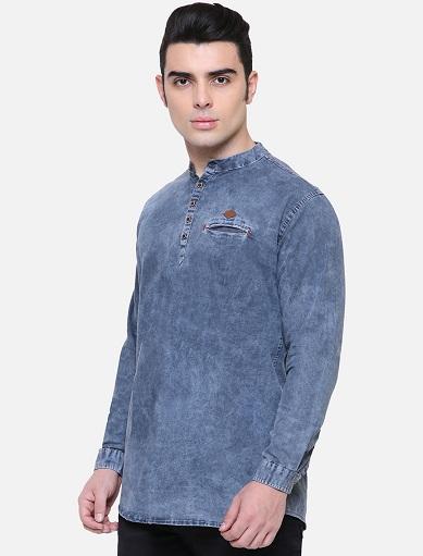 Denim Long Sleeve Kurta Shirt