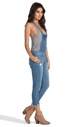 Distressed Skinny Jean Overall