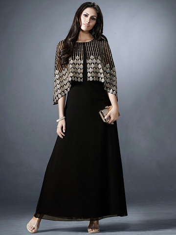a3d9d73f3a73 Your wardrobe is incomplete without this regular fit black georgette long  frock with jacket. The long dress has lining attached to it.