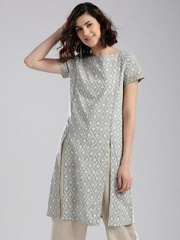 Fab india Women Grey & Off-White Printed Straight Kurta