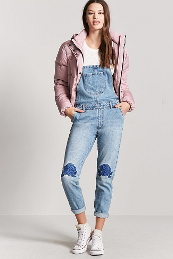 Floral Embroidered Jean Overall