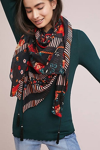 Floral Tasselled Scarf for Women