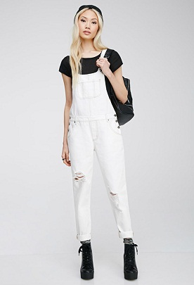 Forever 21 Distressed Bib Overall
