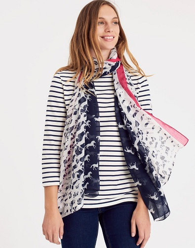 French Navy Horse Printed Scarf
