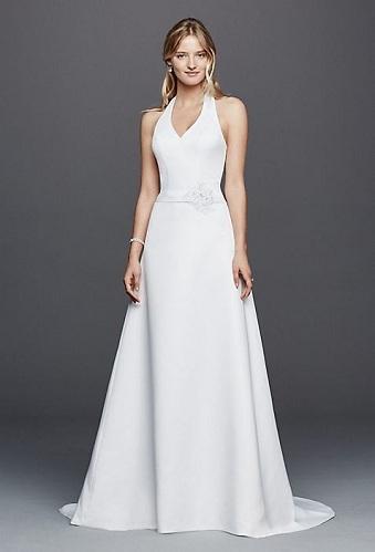 Halter Strap White Wedding Dress