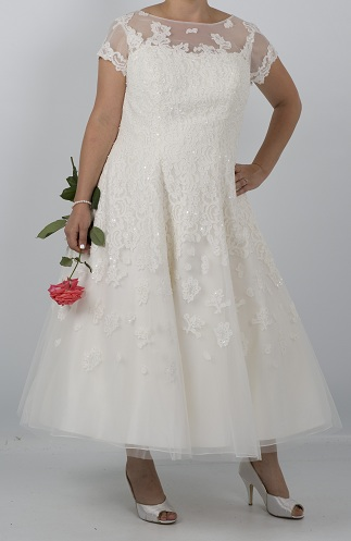 Illusion Neckline Ankle Length Wedding Dress