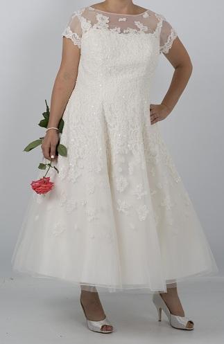 Illusion Neckline Ankle Length Wedding Dress