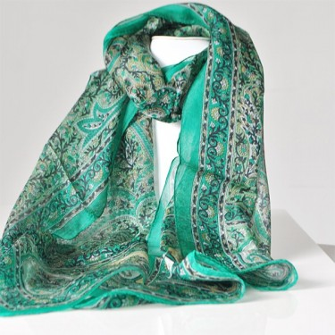 Indian Silk Scarf Green