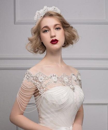 Jewel Attached Wedding Dress