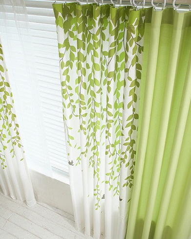 Green And White Curtains In Leaf Prints Are Much Used For The Windows That Give A Garden Scenario With Shade Is Given Leaves
