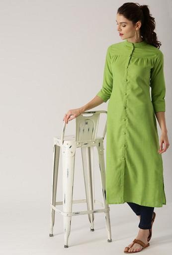 Libas Women Green Solid Straight Kurta