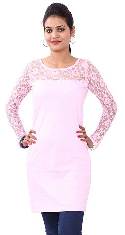 Light Pink Lacy Top Long Size