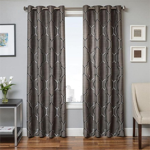 These Long Curtains Are Great For Rooms That Large The Curtain Panels In Grey Color With A Nice Print On Them You Can Have Lining Attached To
