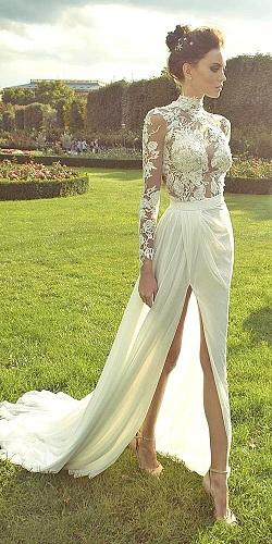 Long Front Slit Wedding Dress