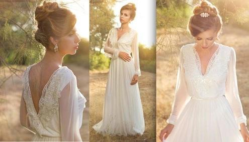 Long Net Sleeve Wedding Dress