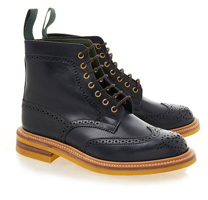 Navy Black Brogue Boot