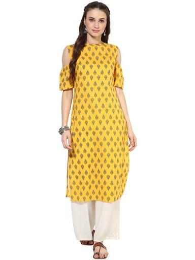 Nayo Women Yellow Printed Cold Shoulder Kurta