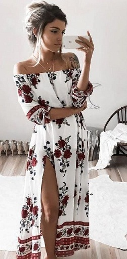 41385b73916 The summer months are also a popular time of the year to flaunt off-shoulder  dresses and here is one stunning example. This off-shoulder dress has all  that ...