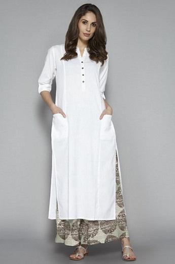 Pakistani Plain White Kurti