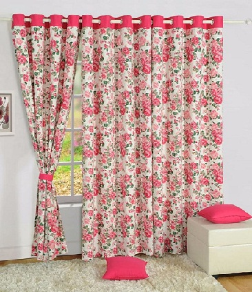 Pink Cotton Printed Curtains