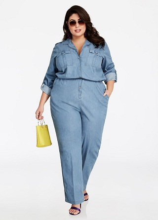 Plus Size all Over Women's Denim Rompers