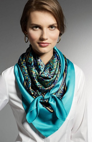 Printed Shiny Silk Scarf for Women