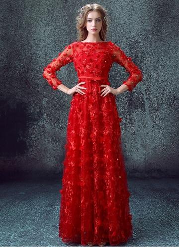 Red Full-Length Wedding Dress