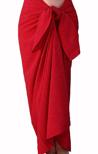 Red Sarong Wrap Skirt
