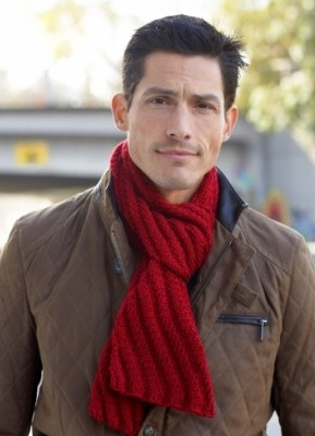 Red Knit Scarf for Men