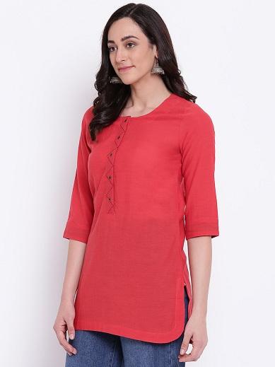 Red Plain Shirt Kurta
