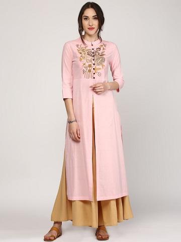SASSAFRAS Women Pink Embroidered Kurta