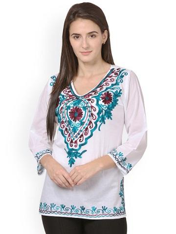 Saadgi Women White & Blue Chikankari Embroidered Straight Kurti