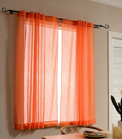 Sheer Orange Curtains For Windows And Doors