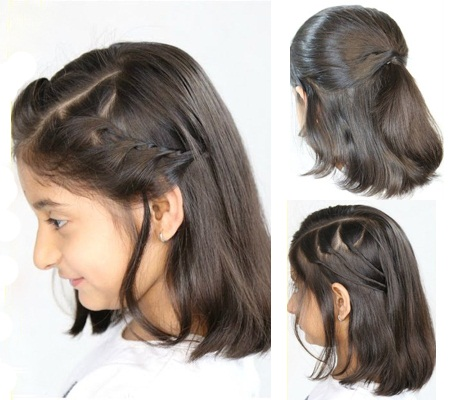 Side Styled Hairstyle for School Girls