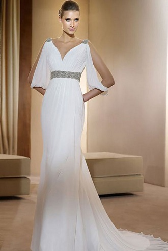 Silted Sleeve Wedding Dress