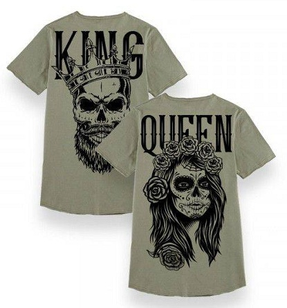 ccb67676ab For a young couple who likes to have a scary theme for their party can  choice this skull print Queen and King t-shirt type. The king t-shirt has  the skull ...