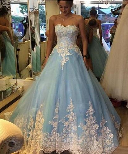 Sky-Blue Strapless Long Wedding Dress