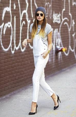 Slim Fit White Overalls