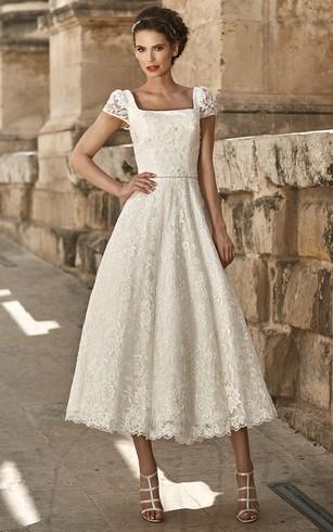 Square Neckline Short Wedding Dress