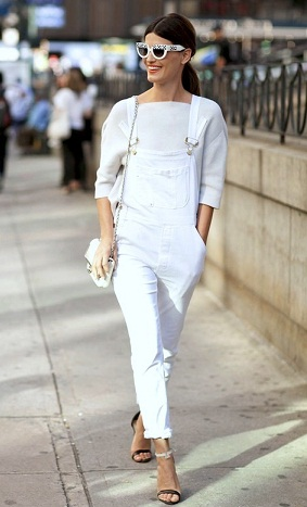 Striking White Denim Overalls