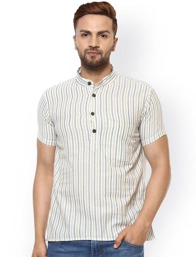 Striped Half Sleeve Kurta Shirt