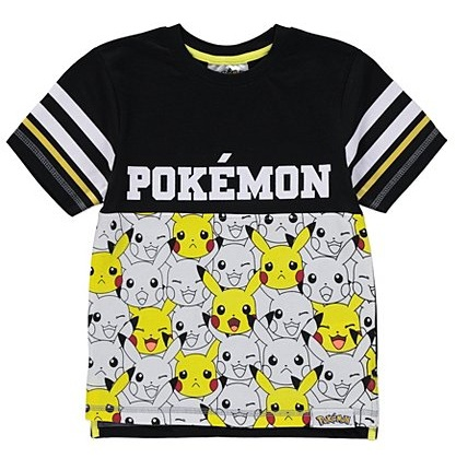 affa4403 Here comes the sensational Pokemon tee shirt with black and white shades.  The highlighting thing here is a striped design in sleeves alone.